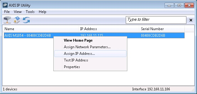 assign IP address