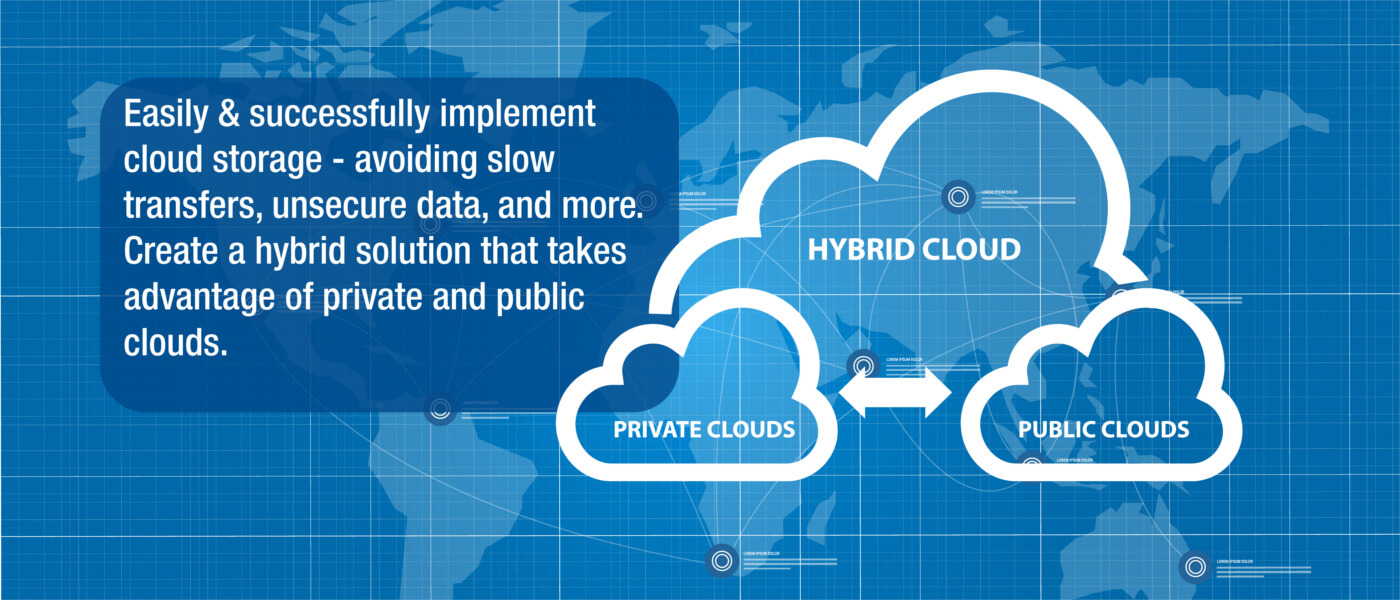 hybrid cloud infographic over global map