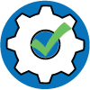 stability icon with white gear and a green check in the middle