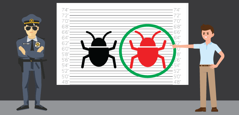 police officer and victim pointing to red bug and black bug over mugshot height chart