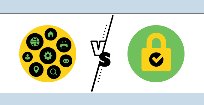 left yellow circle with various app icons versus right locked padlock