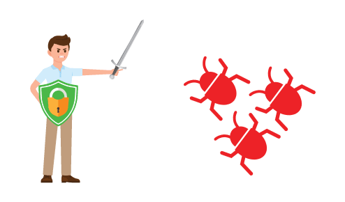man with sword and shield fighting 3 red bugs