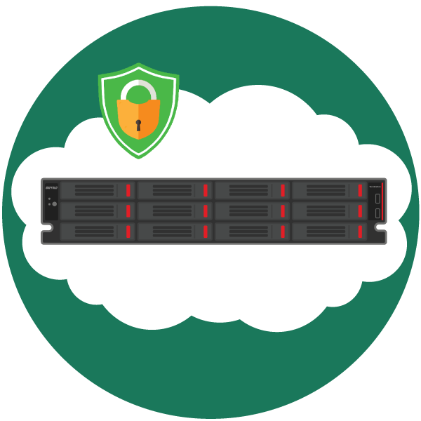 hybrid cloud integration for safety and savings icon with buffalo terastation