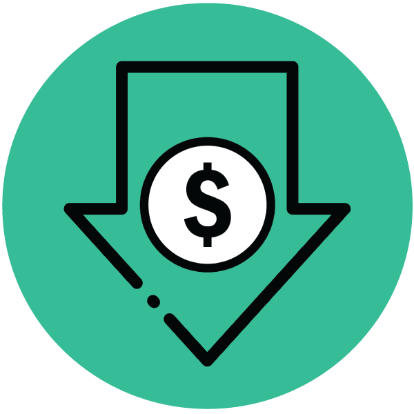 Keep costs low by scaling as you grow icon with an arrow pointing down and a dollar sign