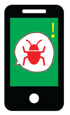 phone with green screen with ransomware notification with red bug