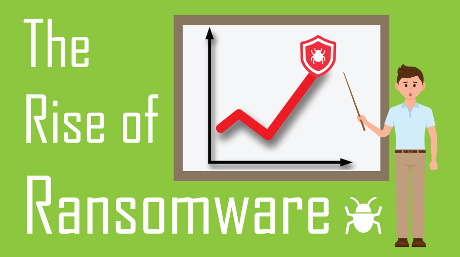 man with pointer pointing at graph with red lights and ransomware icon