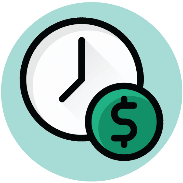 time is money icon with an analog clock and a dollar sign