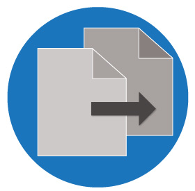 Paper being duplicated in a blue circle icon