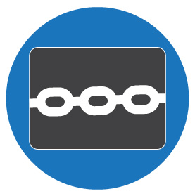 White security chain inside gray box inside a blue circle icon