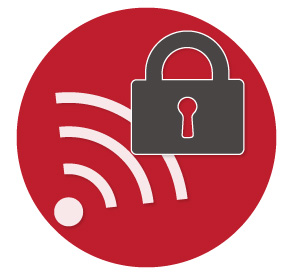Scanner sensing security in a red circle icon