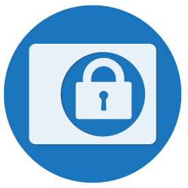 Lock inside a white box inside a blue circle icon