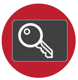Key inside a gray box inside a red circle icon